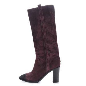 Chanel Suede Cap-Toe Boots Sz 40.5